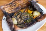 Paperbark-wrapped seasonal vegetables.