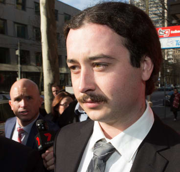 Brent Moresco outside Melbourne Magistrates Court on Tuesday.