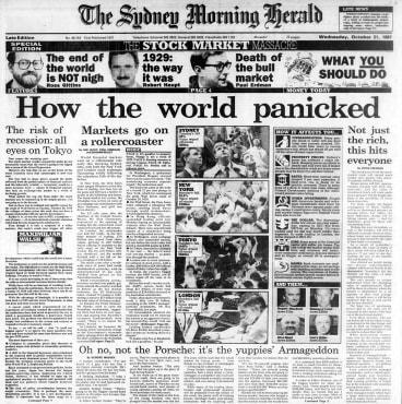 <i>The Sydney Morning Herald</i>, October 20, 1987 – the stock market crash.
