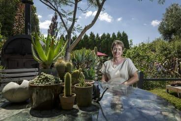 Sharon Harris in her garden in Thornbury.