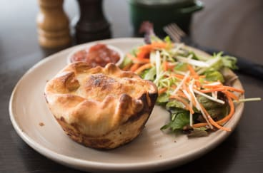 The pies at Olive at Loch are filled with chunks of beef cooked with vegetables and dark ale from the brewery next door.