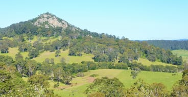 Najanuga (Little Dromedary), a striking rocky outcrop viewed from the lookout in Central Tilba.