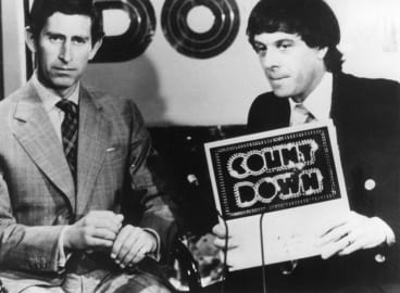 """""""How's your mum?"""" Molly Meldrum with Prince Charles on Countdown."""
