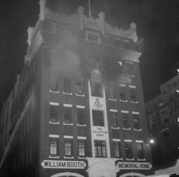 The fire at The Salvation Army William Booth Memorial Home in Little Lonsdale Street, Melbourne on August 13, 1966.