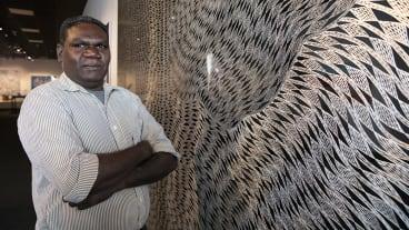 Gunybi Ganambarr with his 2018 NATSIAA winning work Buyku