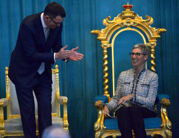 Victorian premier Daniel Andrews and Linda Dessau AM, Linda  is sworn in as the 29th Governor of Victoria at Government house. 1st July 2015. Fairfaxmedia The Age news Picture by Joe Armao