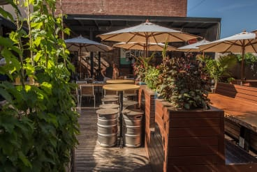 The beer garden at the Great Northern Hotel in Carlton North.