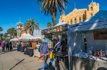 The weekly St Kilda Esplanade Market has been a part of seaside St Kilda since the 1970s.