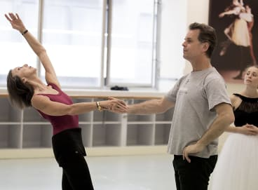 "(From left) Maina Gielgud, Steven Heathcote and Natasha Kusch rehearsing ""Giselle""."