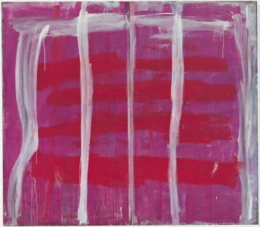 Detail of Pink lines (vertical) on red and purple 1970-73, by Tony Tuckson; Queensland Gallery of Modern Art.