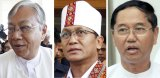 Presidential, from left: Htin Kyaw, Henry Van Hti, from the National League for Democracy party, and Myint Swe, the military's candidate.