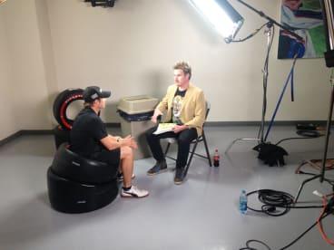 Damien Power filming his IndyCar segments.