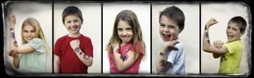 Jasmine, Alfie, Bronte, Oscar and Leo Mosley show off their fake tattoos.