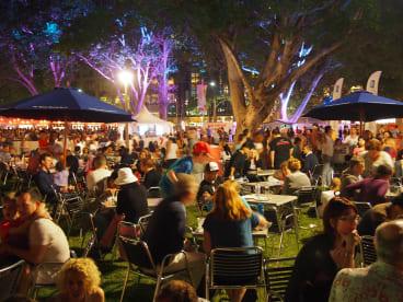 Relaxed: Crowds enjoy last year's markets in Sydney.