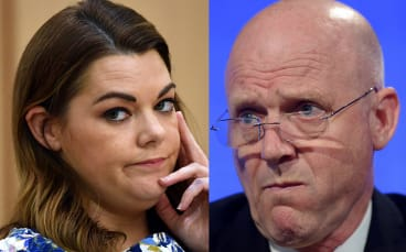 Greens Senator Sarah Hanson-Young and Liberal Democrats senator David Leyonhjelm.