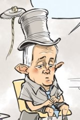 "David Pope on drawing the PM with a tin-can-and-string top hat (from his days as Minister for Communications): ""He now looks naked to me when I draw him without it. Over time it has become a prop that has taken on a life of its own."""