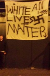 This banner mirrors the message of graffiti at Midland Gate Shopping Centre in December.
