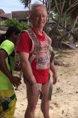 Australian Roger Hussey before the fall on Kata beach, Thailand.