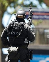 A police officer at the Martin Place siege.
