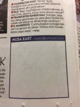 Turkish newspaper cartoonist Musa Kart was arrested and jailed pending trial in early November, along with a number of his journalist colleagues, as part of President Erdoğan's post-coup crackdown on critical voices in the media. His regular spot in the paper has often been left symbolically blank.