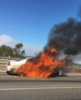 Another vehicle engulfed in flames in Canning Vale on Wednesday.