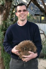 Frank Grützner with an echidna.