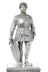 An early 20th century German silver and ivory Medieval knight by Wilhelm Weinranch and Fritz Schmidt.