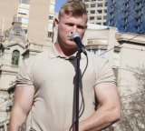 Blair Cottrell at a rally in Melbourne.
