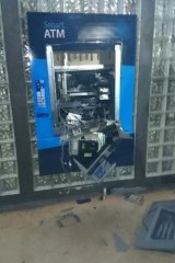 The destroyed ATM in Winnellie.