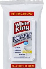 "White King Power Clean Flushable Toilet Wipes were advertised as being a ""flushable toilet wipe""."