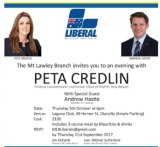 The Liberal party flier for the fundraiser.