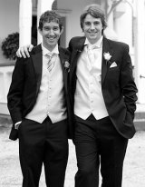 Farquhar, left, at Cannon-Brookes' wedding in 2010. They were Best Man at each other's weddings.