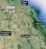 Adani's proposed mine and rail lines.