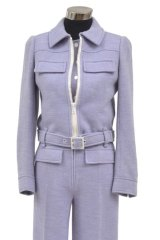 Jumpsuit style: A lilac Courrèges cotton and polyester jacket with a sleeveless jumpsuit from circa 1965.