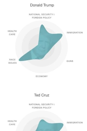 A focus on race. Social media topic discussions related to candidates in January - visualised by MIT Media Lab.