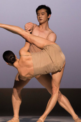Australian Ballet principal dancers Chengwu Guo and Robyn Hendricks in Chroma, 2014.