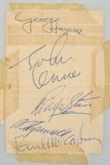 Letter be: A scrap of paper signed by John, Paul, George and Ringo sourced from an Australian security guard who worked on the tour.