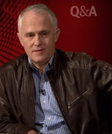 Friendlier times: Turnbull appears on the ABC's <i>Q&A</i> sporting a leather jacket in 2010.