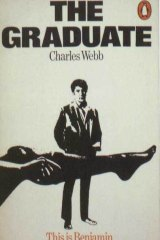 The book cover of <aif>The Graduate<aif> by Charles Webb, featuring the stockinged leg of Mrs Robinson.