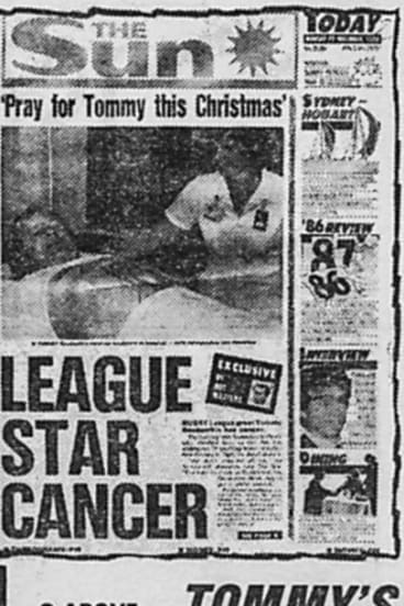 Not the first time: A newspaper clipping from The Sun in March 1987 revealed Tommy Raudonikis' first cancer battle.
