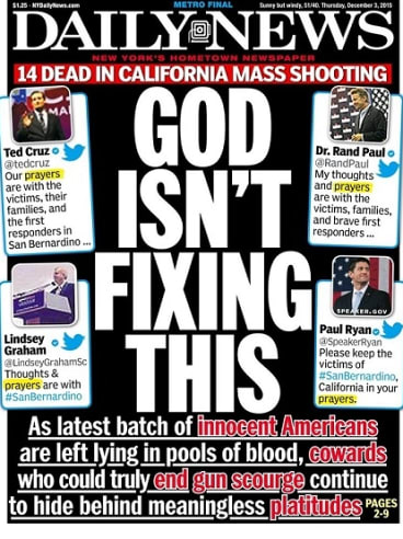 The front page of New York newspaper the <i>Daily News</i> that upset the National Rifle Association.