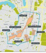 The Central to Eveleigh Study Area, marked with a blue line. Government-owned land is marked in orange.