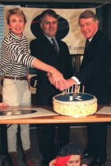 Close allies in the Republican Movement: Celebrating the movement's 7th birthday from left, Wendy Machin, Malcolm Turnbull and Neville Wran.