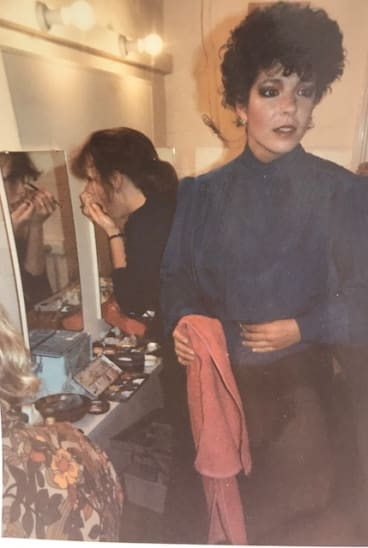 Tina Broad as Marlene and Margot Edwards as Jeanine, prepare backstage for <i>Top Girls</I> in 1984.