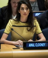 """Amal Clooney attends an event titled """"The Fight against Impunity for Atrocities: Bringing Da'esh to Justice"""" at the United Nations headquarters, in New York City."""