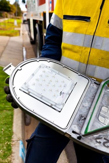 LED lamps emit a longer lasting, bright white light and are replacing old incandescent street light bulbs in nine western Sydney council areas.
