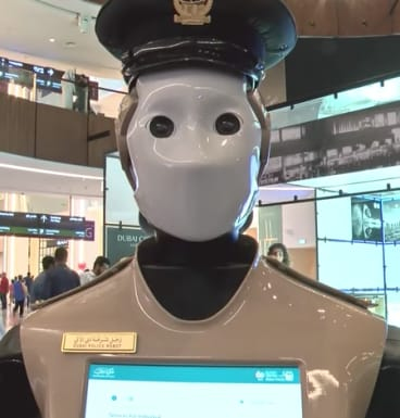 Dubai's Robocop has reported for duty for the first time.