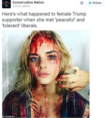 A tweet purporting to show 'liberal' violence instead used an easily debunked image of Australian star Samara Weaving from film Ash vs Evil Dead.