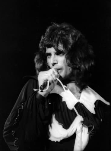 Freddie Mercury, fronting Queen, in their performance at Sunbury rock festival in 1974.