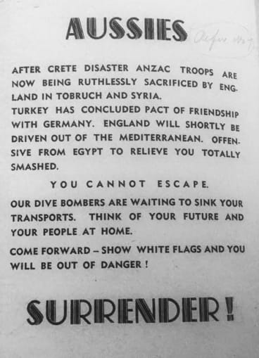 A flyer dropped by the Germans on Australian troops during the war.